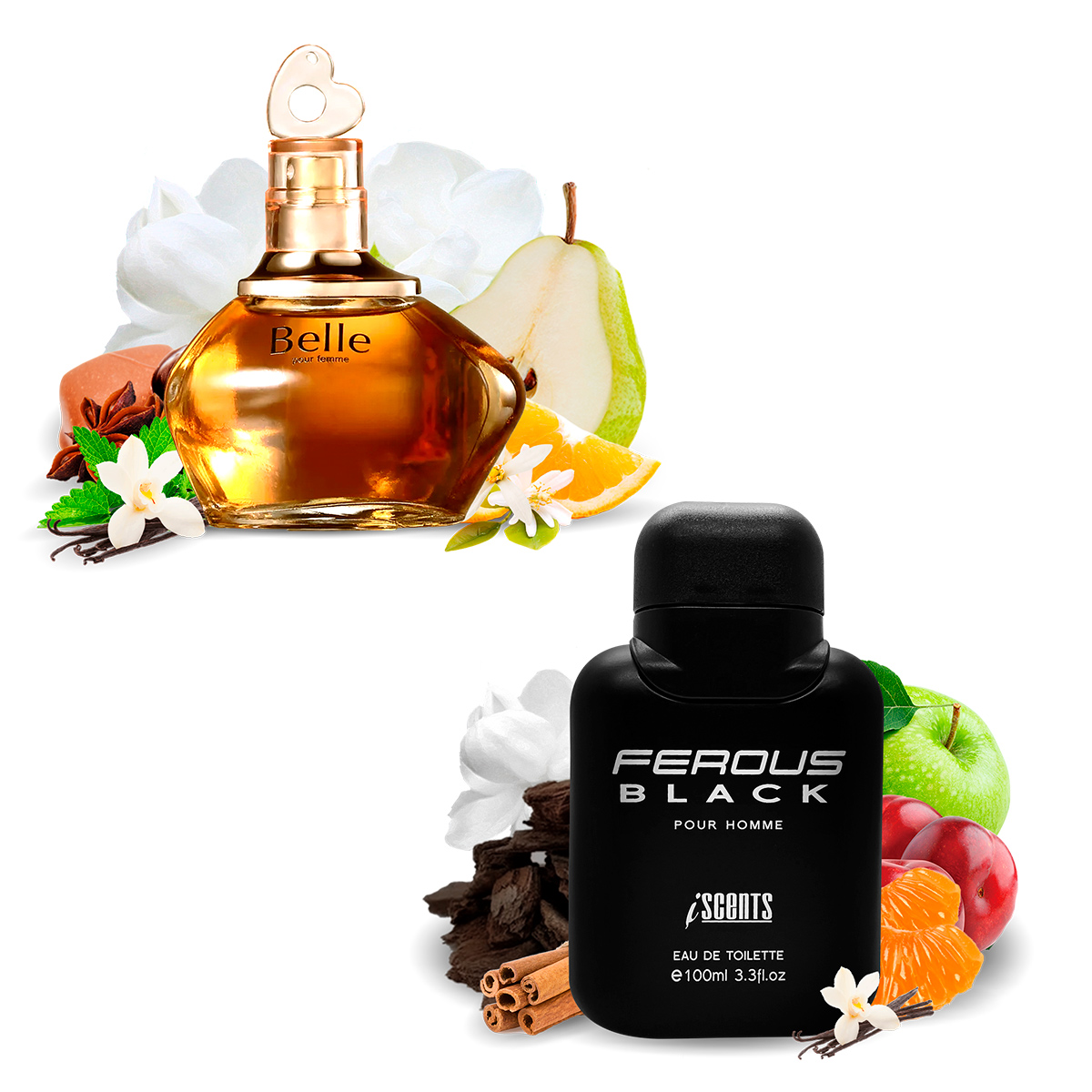 Kit 2 Perfumes Importados Belle e Ferous Black I Scents