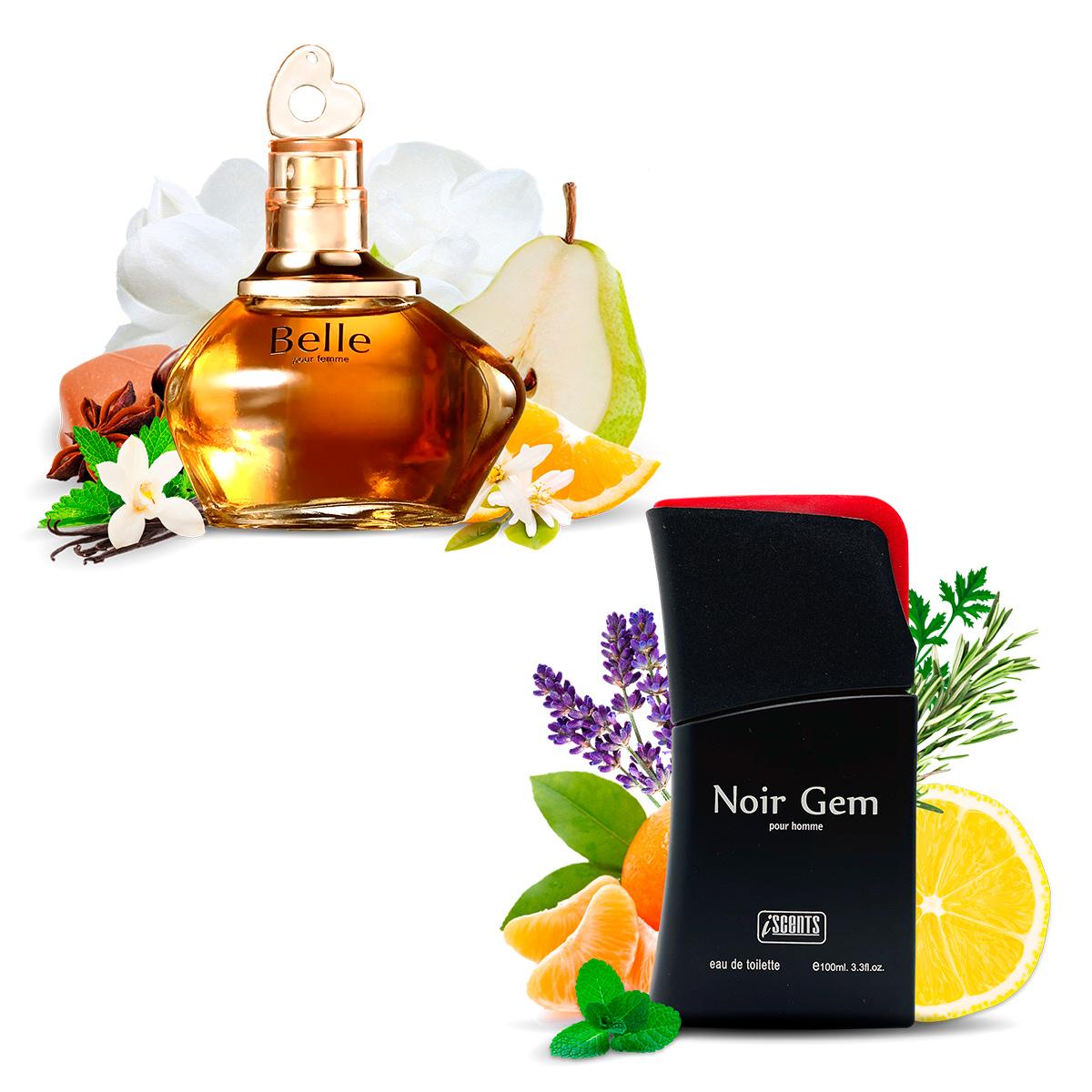 Kit 2 Perfumes Importados Belle e Noir Gem I Scents