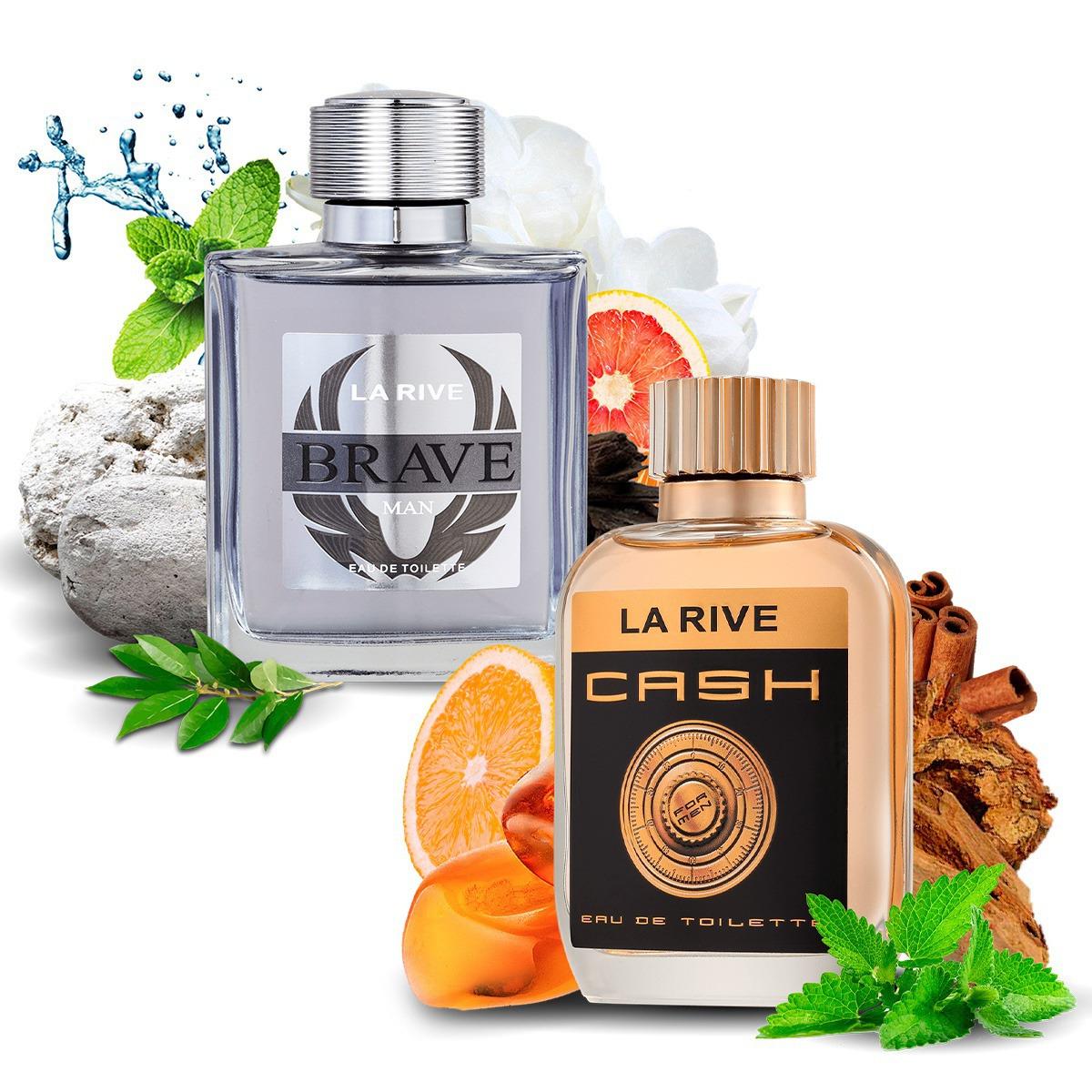 Kit 2 Perfumes Importados Brave e Cash Man La Rive