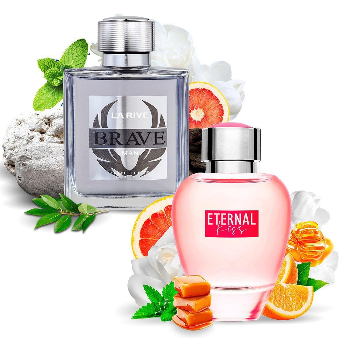 Kit 2 Perfumes Importados Brave e Eternal Kiss La Rive
