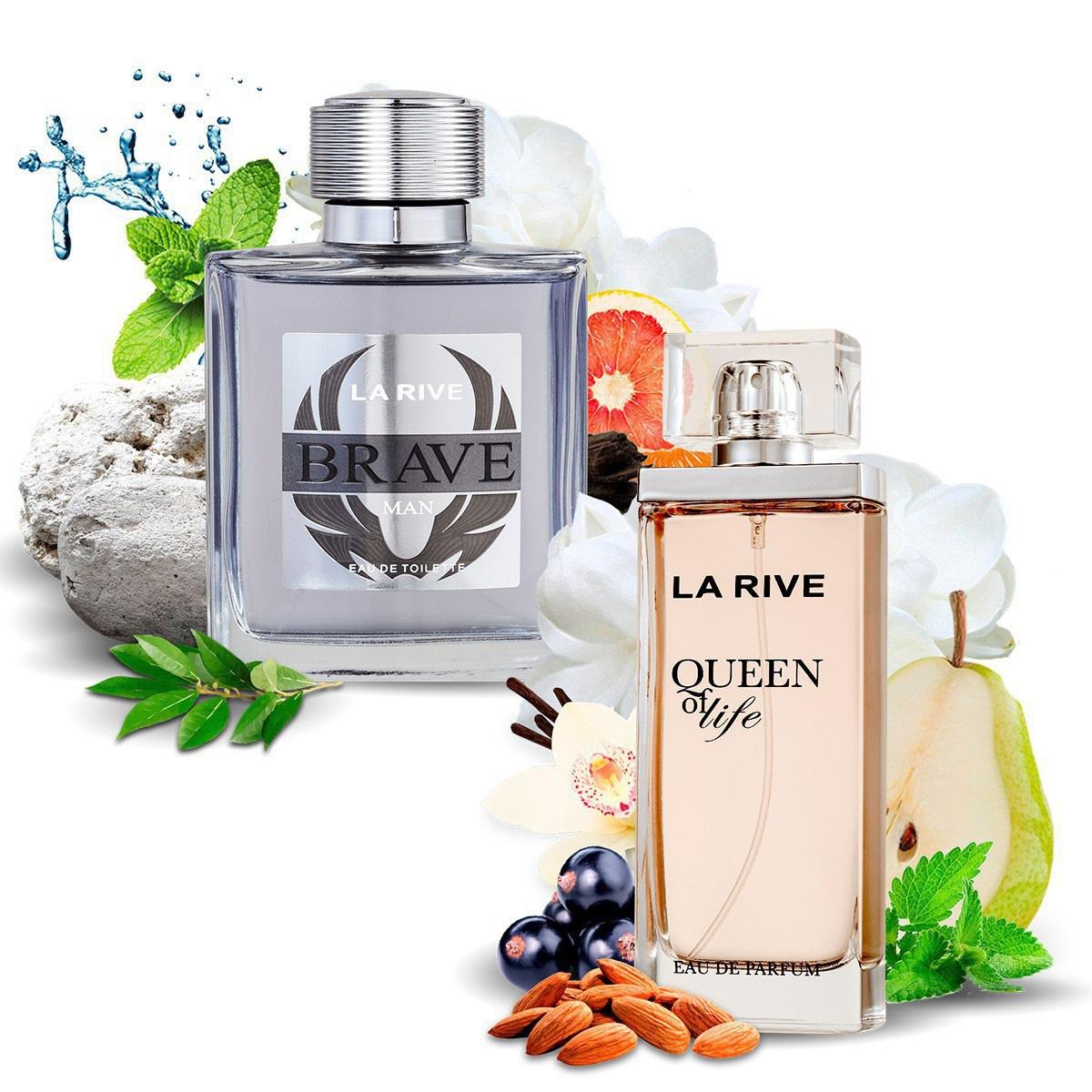 Kit 2 Perfumes Importados Brave e Queen of Life La Rive