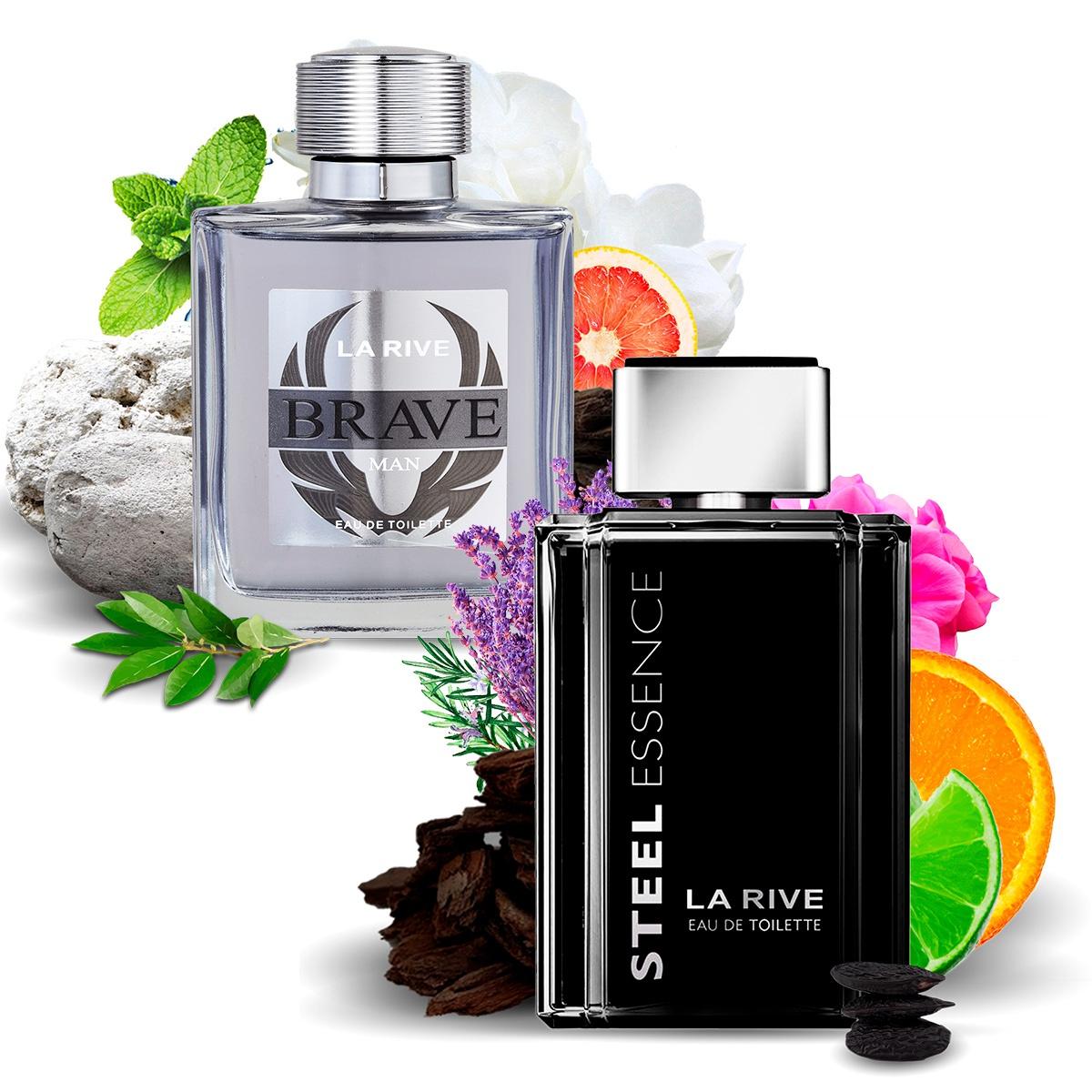 Kit 2 Perfumes Importados Brave e Steel Essence La Rive