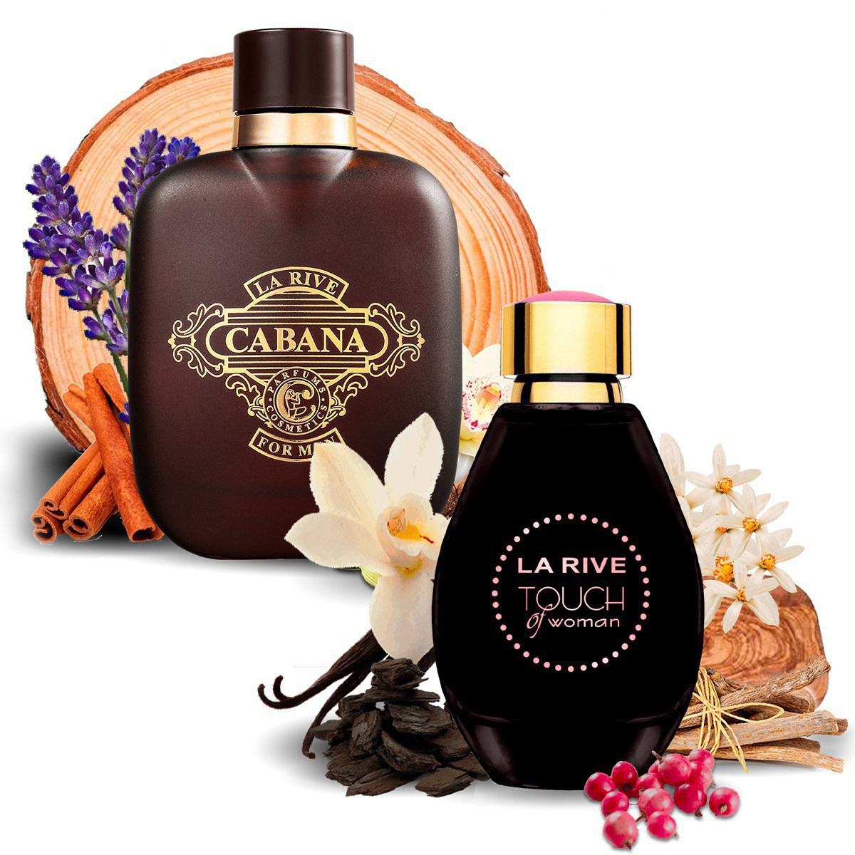 Kit 2 Perfumes Importados Cabana e Touch of Woman La Rive