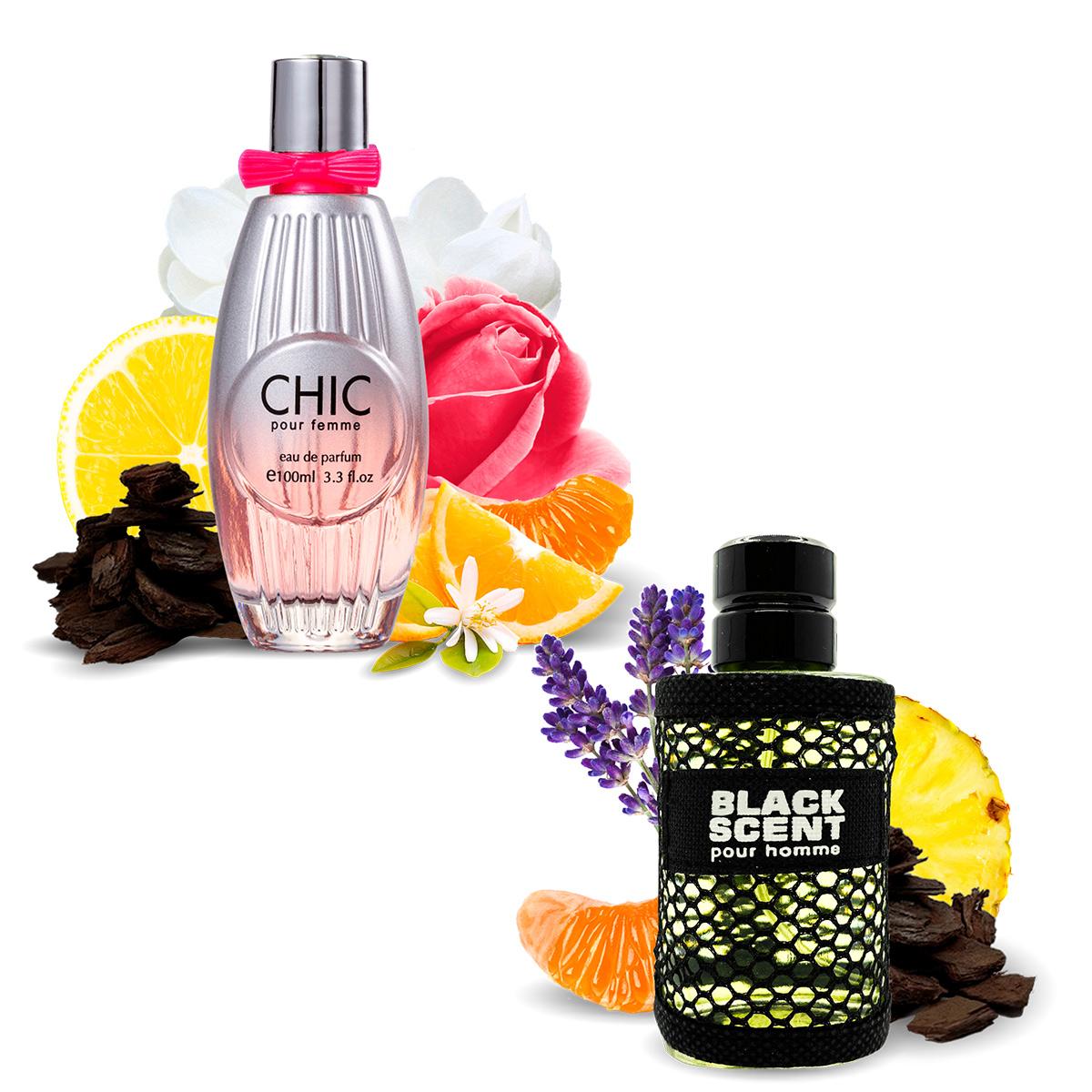 Kit 2 Perfumes Importados Chic e Black Scent I Scents