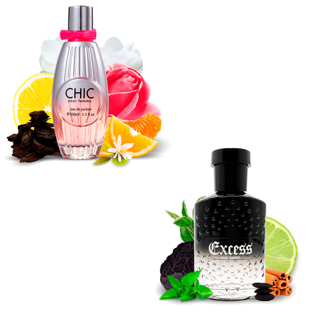 Kit 2 Perfumes Importados Chic e Excess I Scents