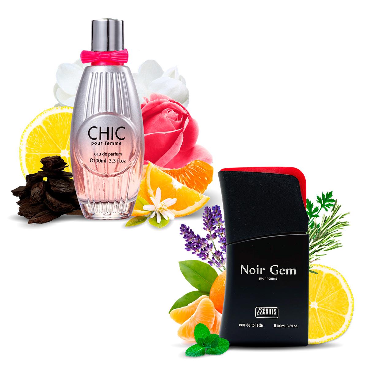 Kit 2 Perfumes Importados Chic e Noir Gem I Scents
