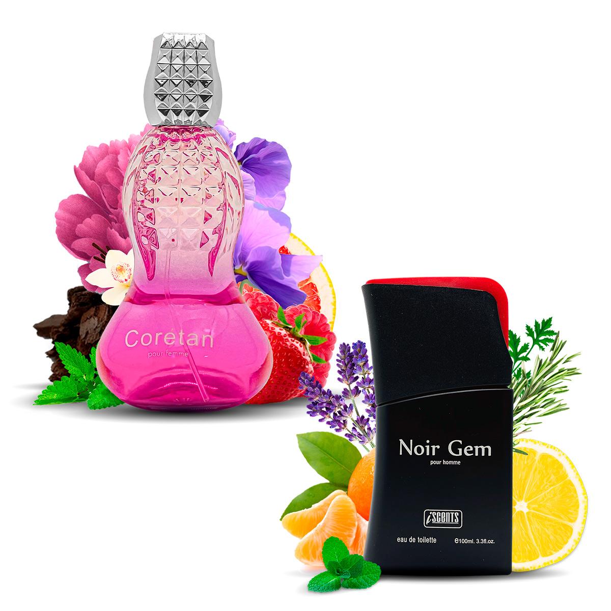 Kit 2 Perfumes Importados Coretan e Noir Gem I Scents