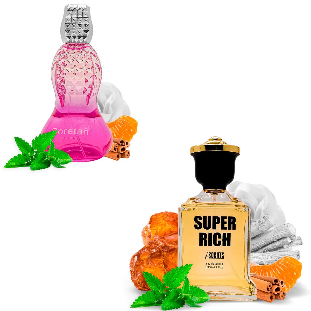 Kit 2 Perfumes Importados Coretan e Super Rich I Scents