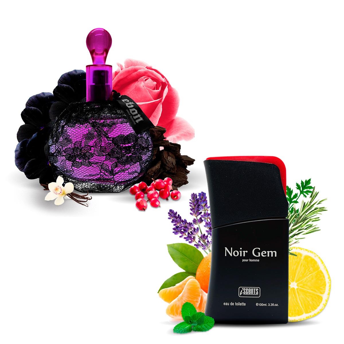 Kit 2 Perfumes Importados Ebon e Noir Gem I Scents