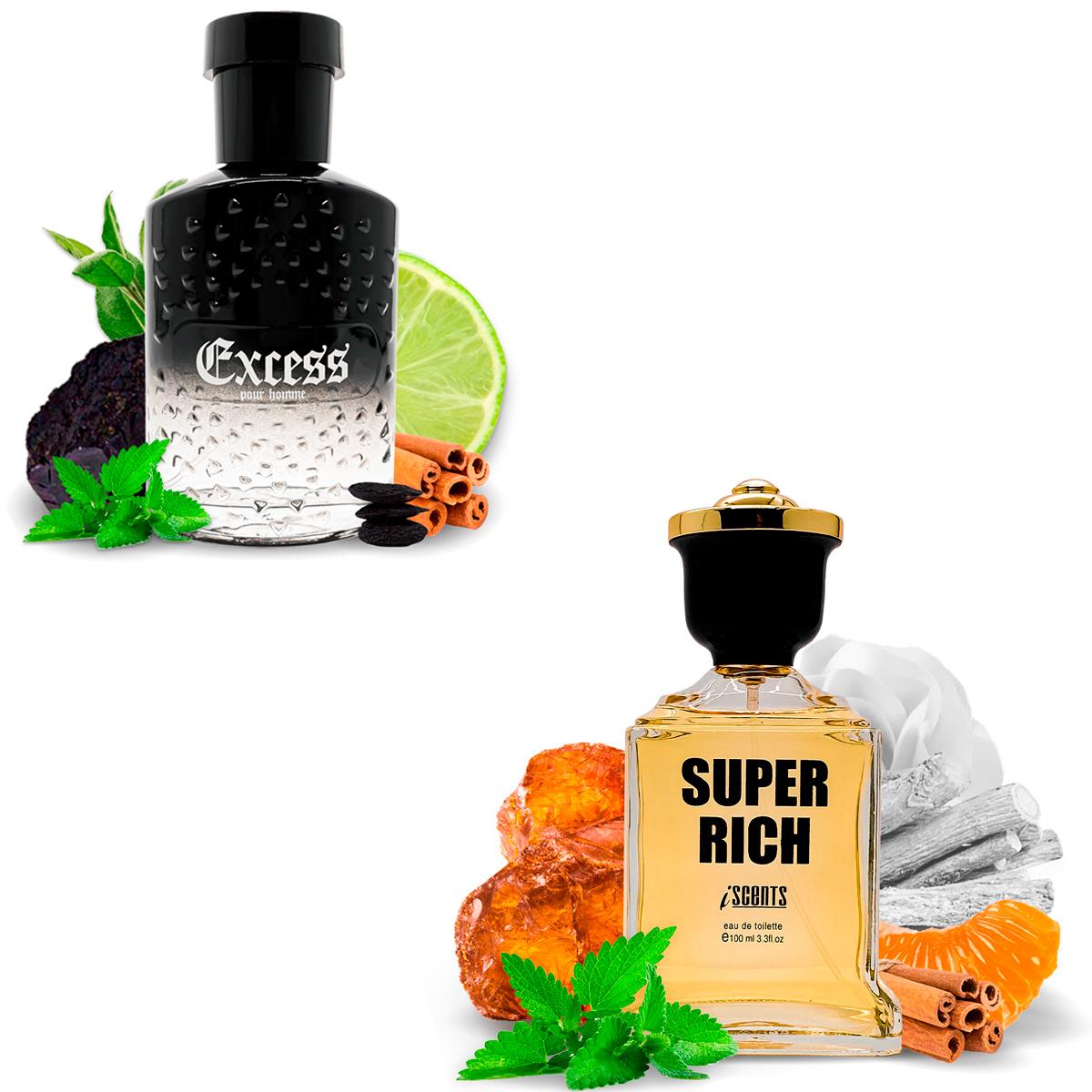 Kit 2 Perfumes Importados Excess e Super Rich I Scents