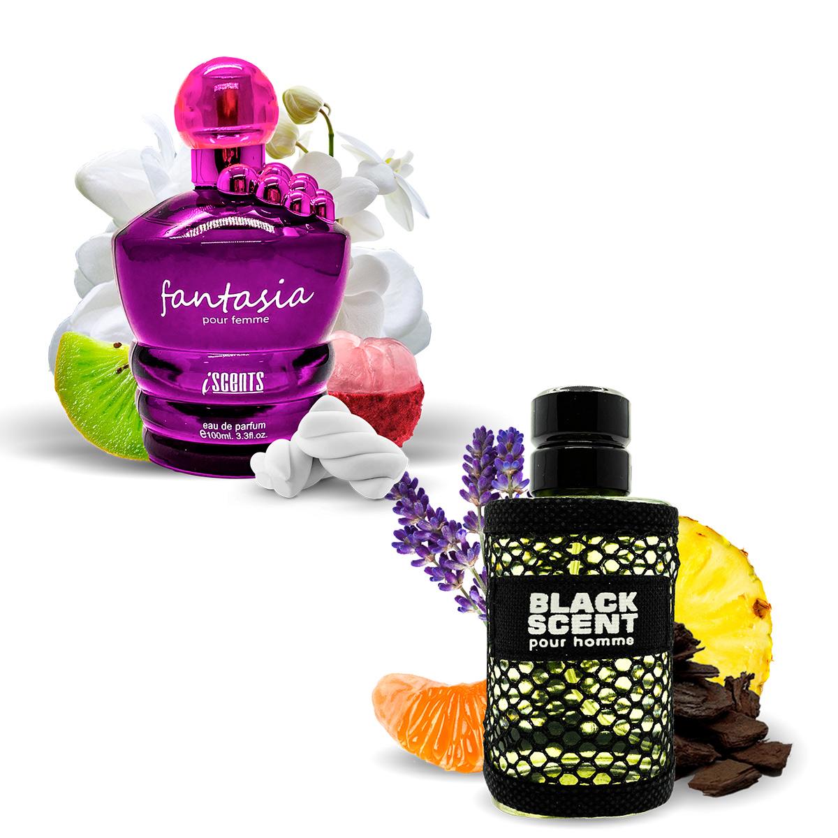 Kit 2 Perfumes Importados Fantasia e Black Scent I Scents