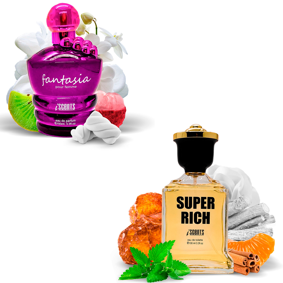 Kit 2 Perfumes Importados Fantasia e Super Rich I Scents  - Mercari Perfumes