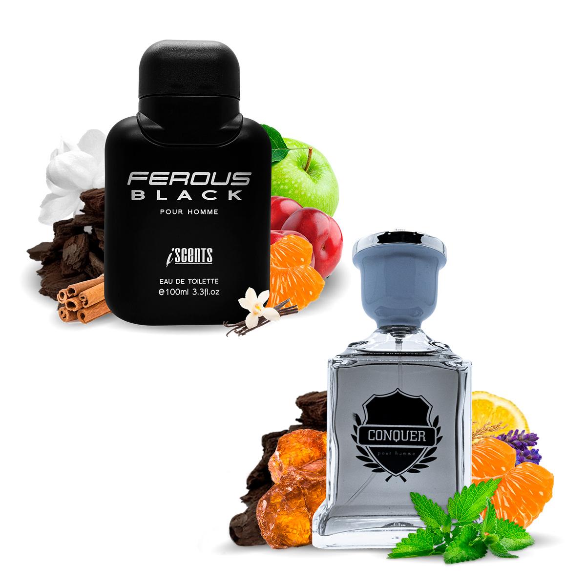 Kit 2 Perfumes Importados Ferous Black e Conquer I Scents