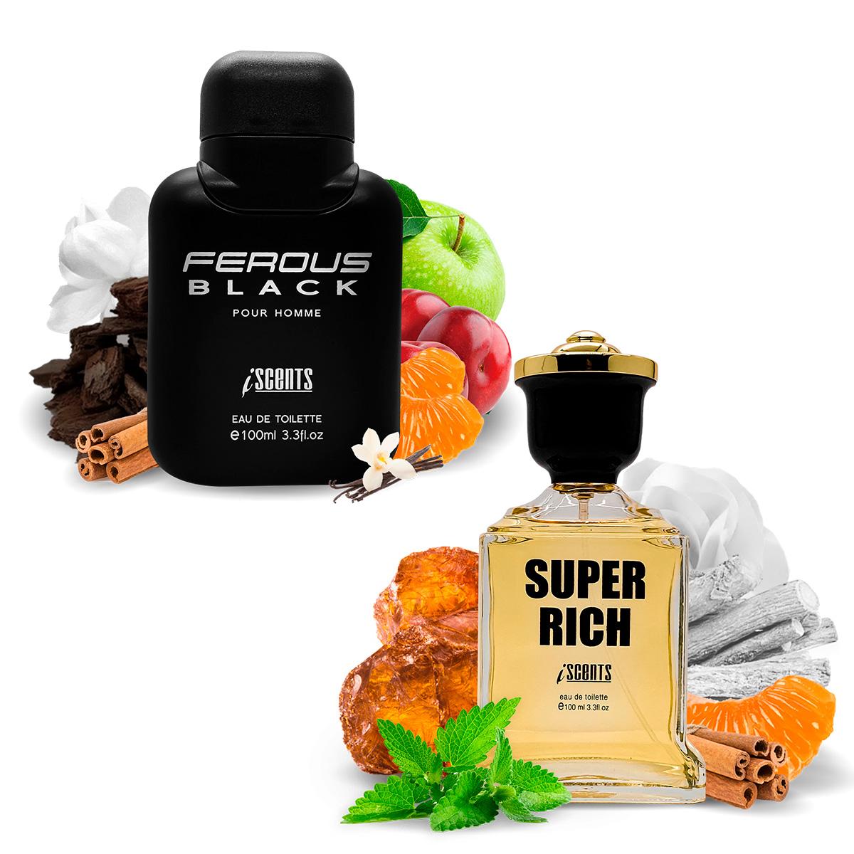 Kit 2 Perfumes Importados Ferous Black e Super Rich I Scents