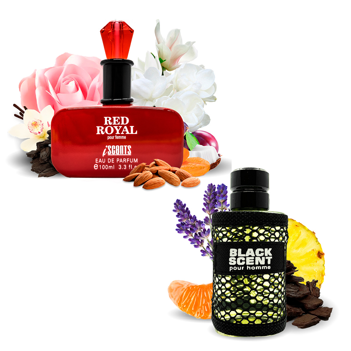 Kit 2 Perfumes Importados Red Royal e Black Scent I Scents