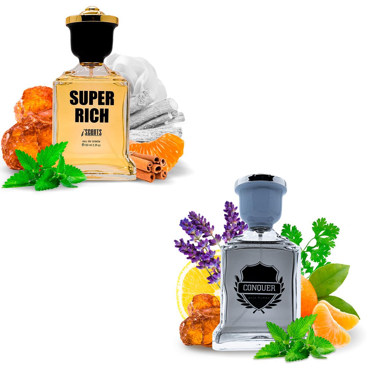 Kit 2 Perfumes Importados Super Rich e Conquer I Scents