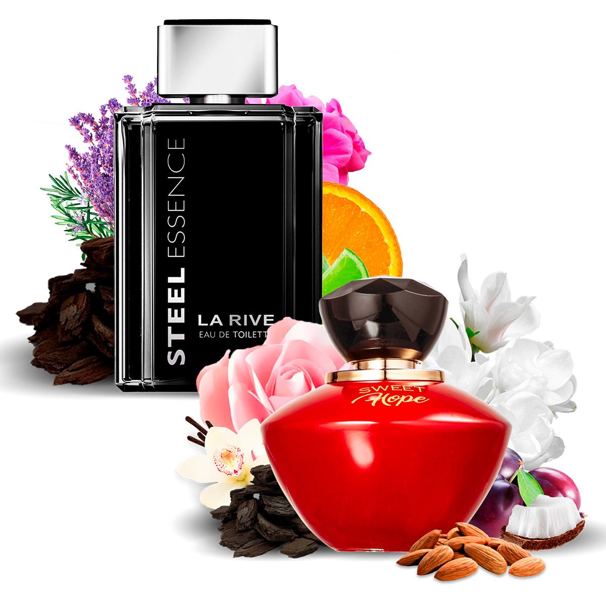 Kit 2 Perfumes Importados Sweet Hope e Steel Essence La Rive