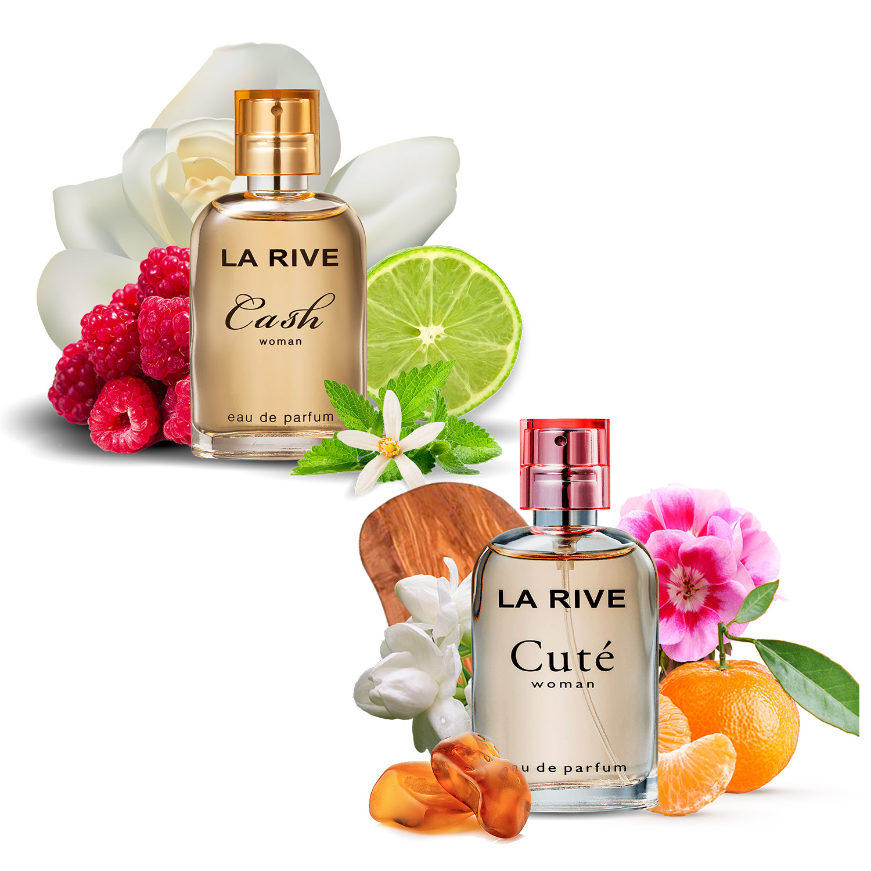 Kit 2 perfumes La Rive, Cash Woman e Cute 30ml Feminino, bolsa viajem, presente, floral frutal, doce