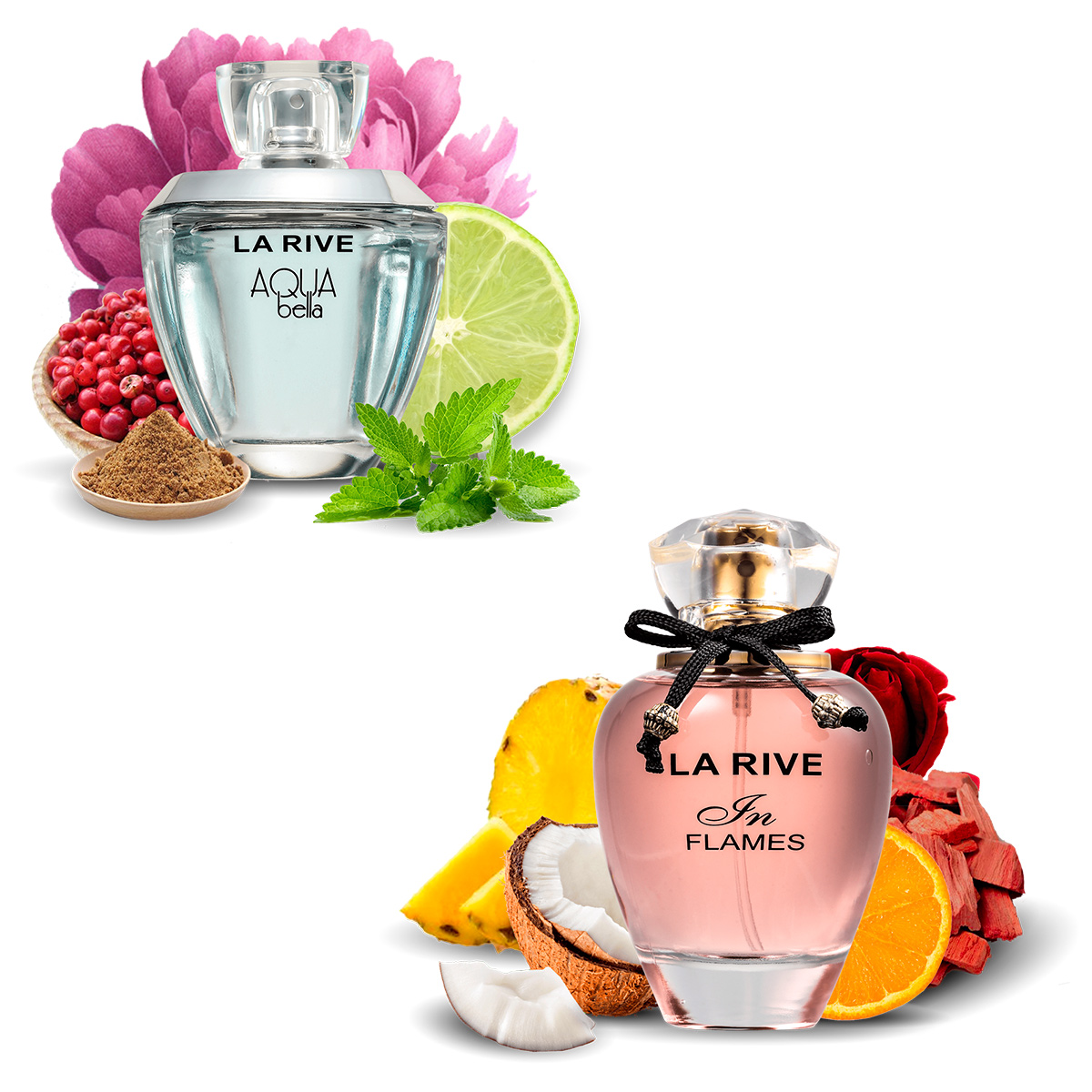 Kit 2  Perfumes La Rive In Flames 90ml + Aqua Bella 100ml