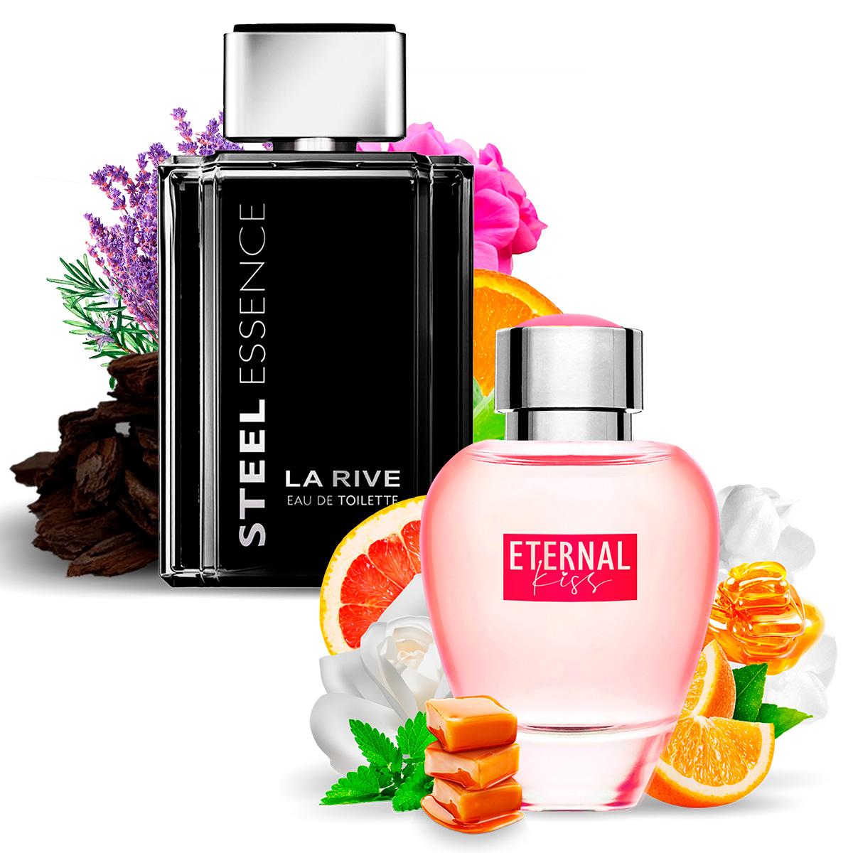 Kit 2 Perfumes, Steel Essence e Eternal Kiss La Rive