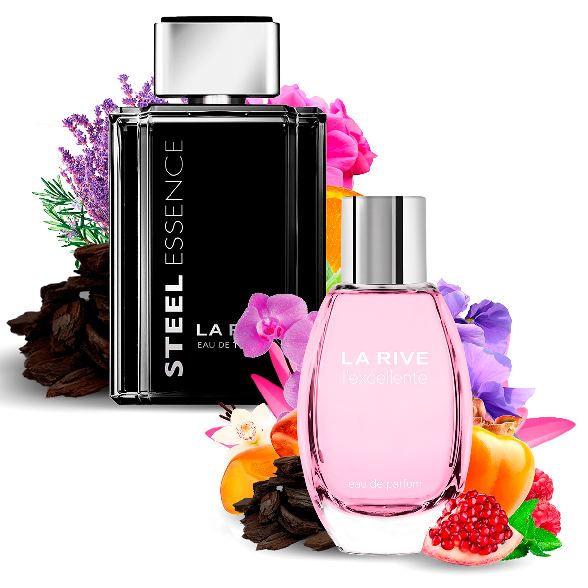 Kit 2 Perfumes, Steel Essence e Lexcellente La Rive