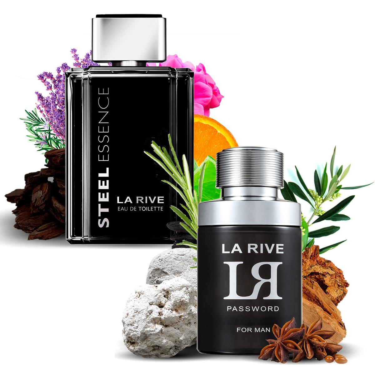 Kit 2 Perfumes, Steel Essence e LR Password La Rive
