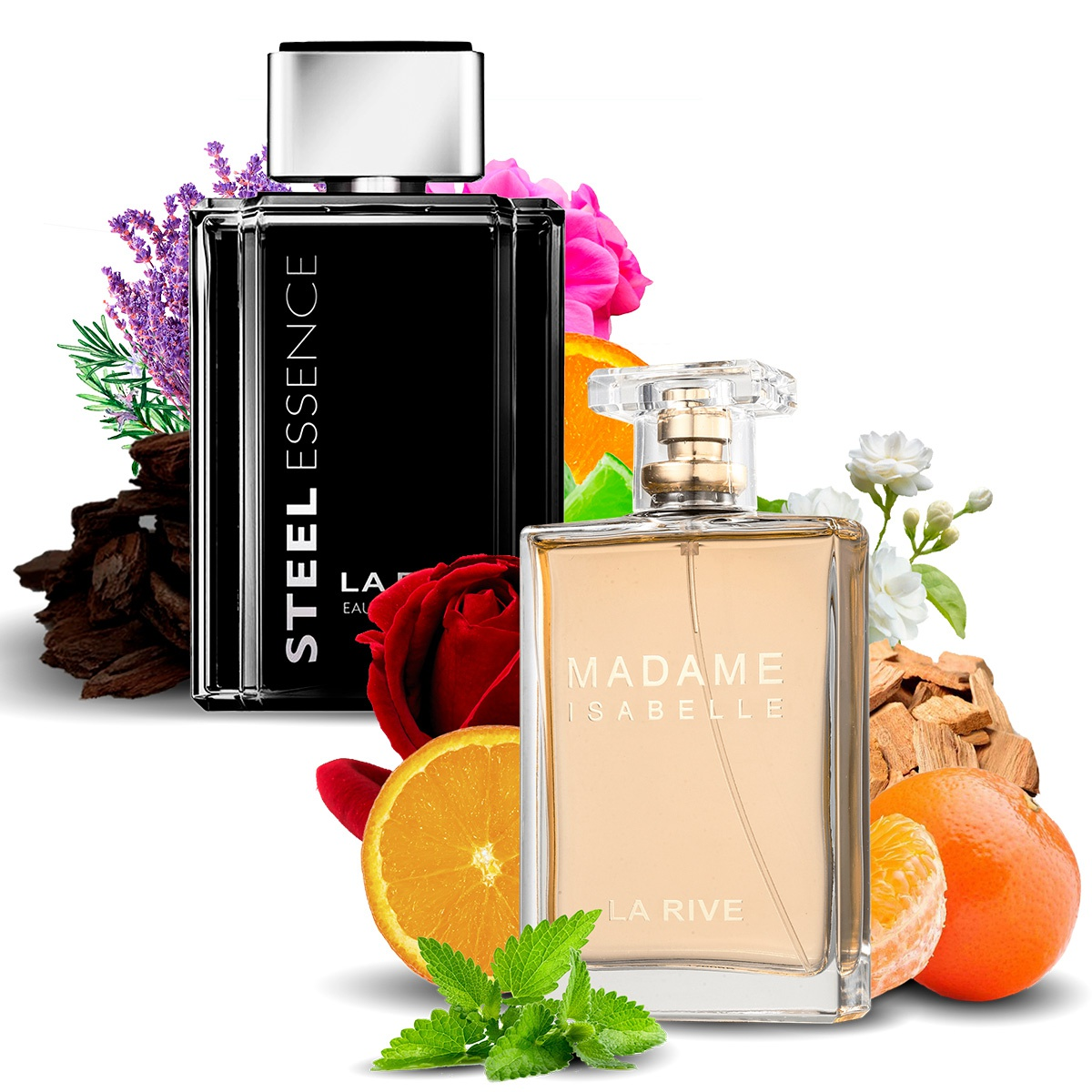 Kit 2 Perfumes, Steel Essence e Madame Isabelle La Rive
