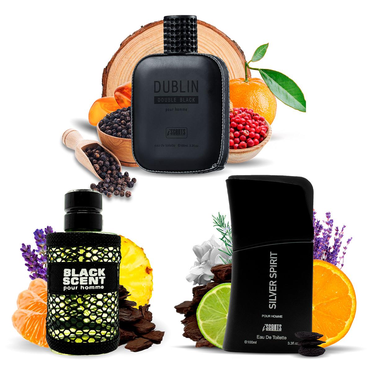 Kit 3 perfumes, Dublin, Silver Spirit e Black Scents I Scents