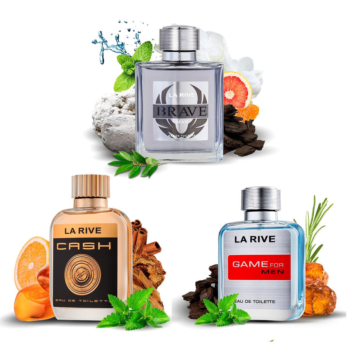 Kit 3 Perfumes Importados Cash Man + Brave + Game For Man