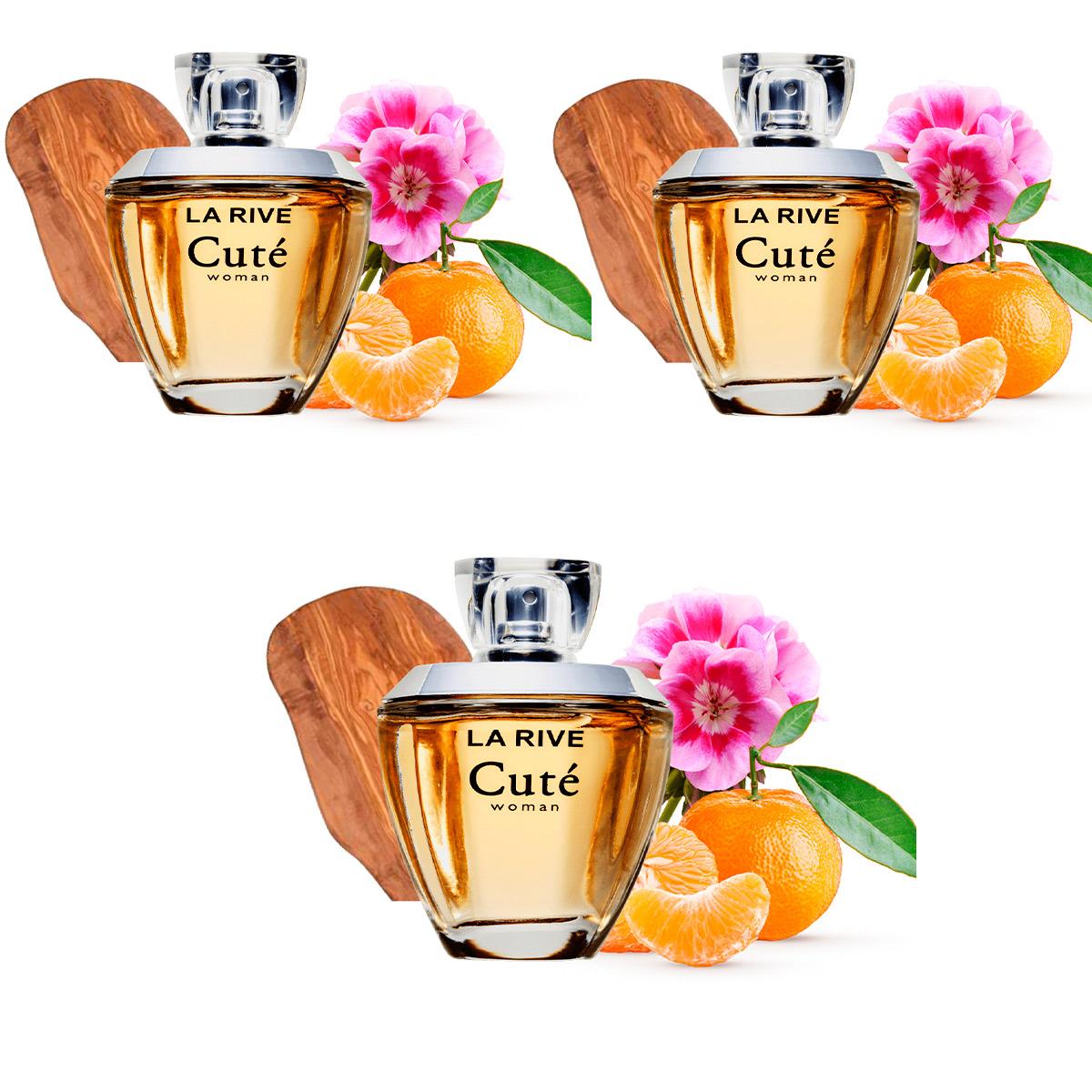 Kit 3 Perfumes Importados Feminino Cuté 100 ml La Rive