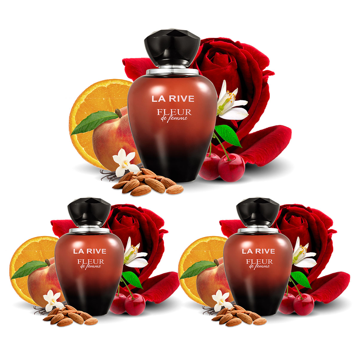 Kit 3 Perfumes Importados Feminino Fleur de Femme La Rive