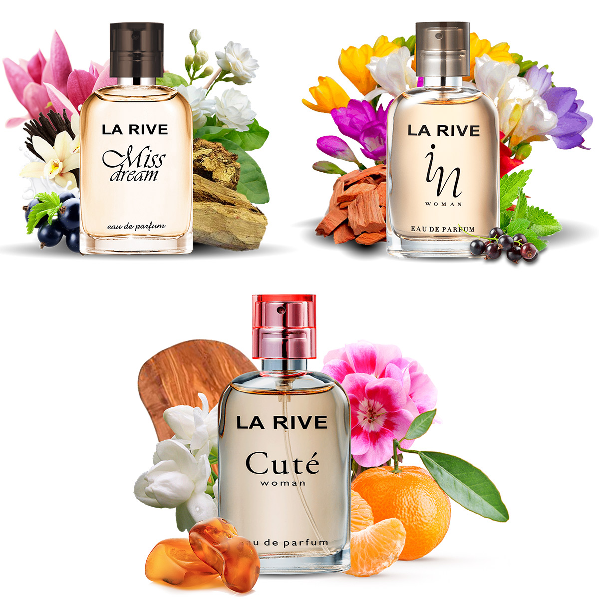 Kit 3 perfumes La Rive Cute, In Woman e Miss Dream 30ml Edp