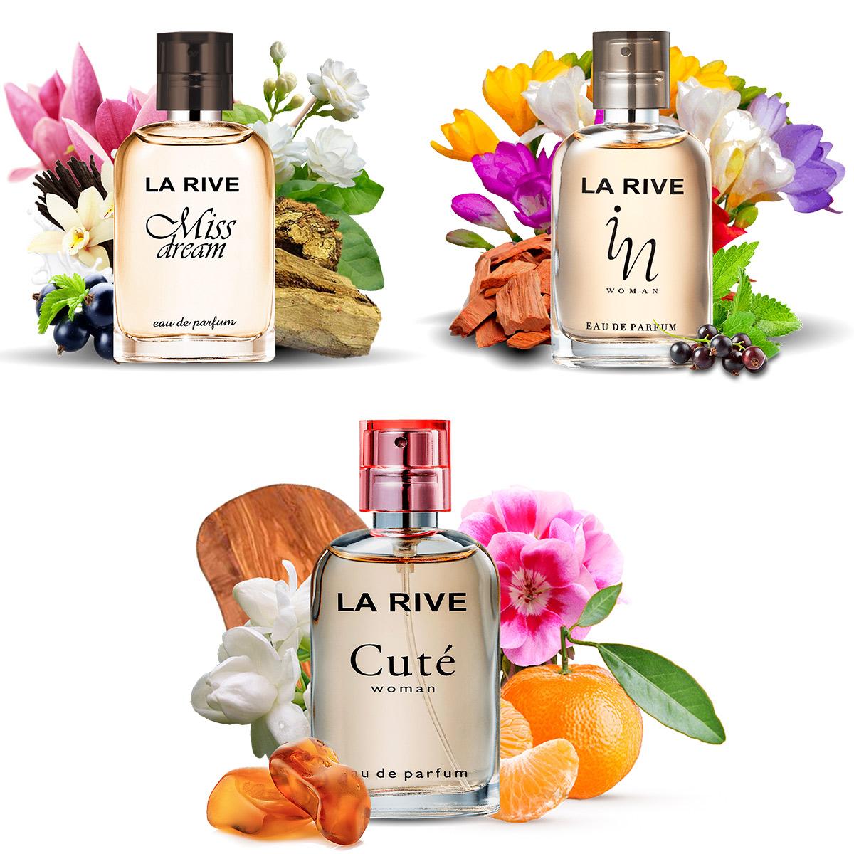 Kit 3 perfumes La Rive Miss Dream, In woman e Cute 30ml Feminino  - Mercari Perfumes