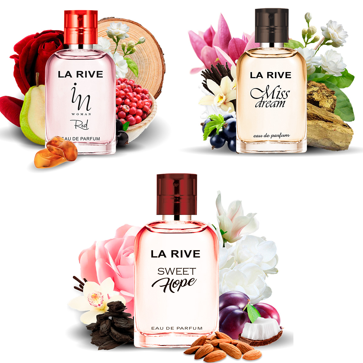 Kit 3 perfumes Miss Dream, Sweet Hope e In Woman Red 30ml