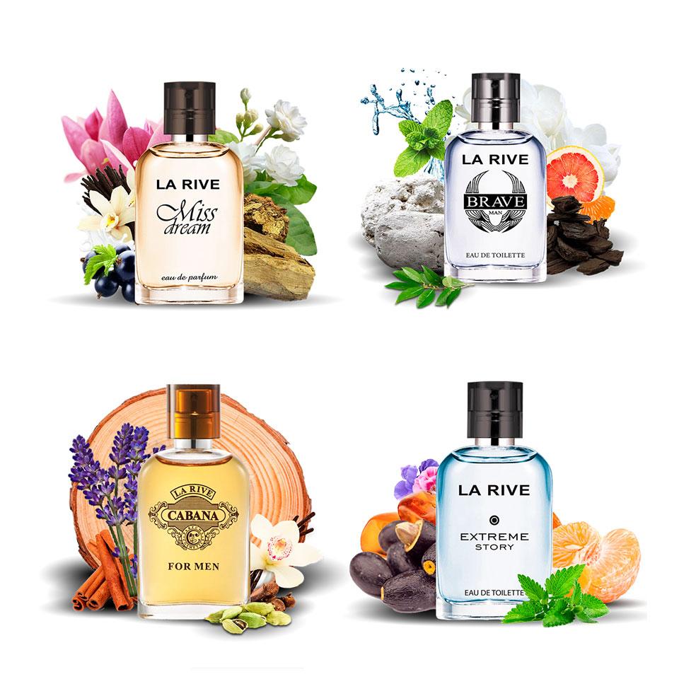 Kit 4 perfumes La Rive Miss Dream, Brave, Cabana e Extreme Story 30ml
