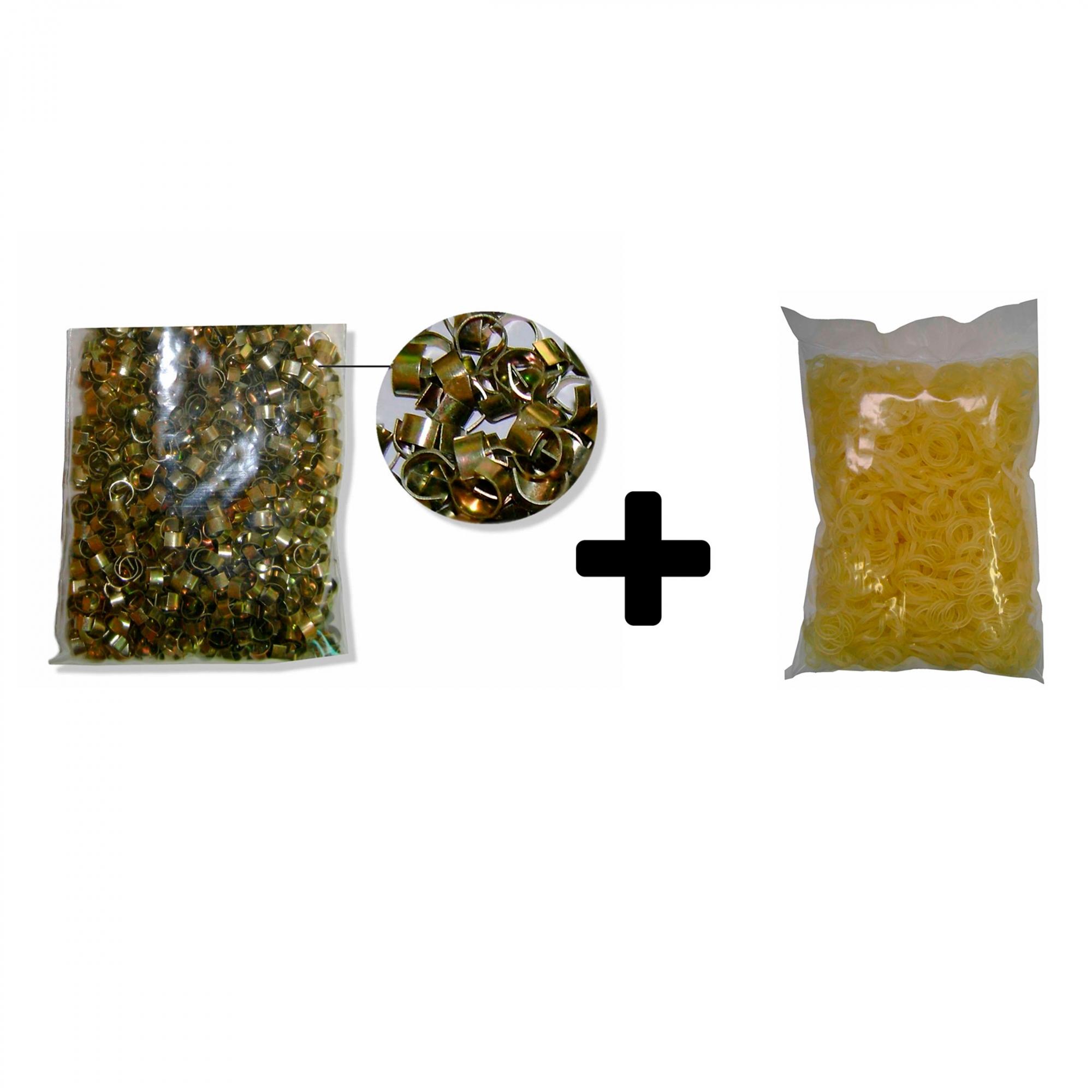 Kit anilha e elástico 5/16 para laços e gravatas Pet Pacote com 1000 unidades de cada