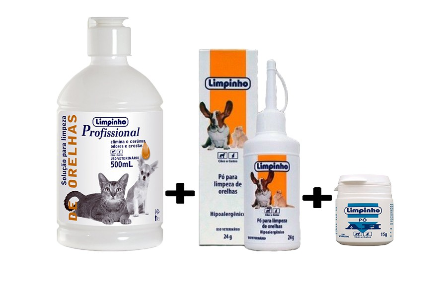 Kit Estanca Sangue 15g + pó Otológico 24g + solução de limpeza de Ouvido Limpinho