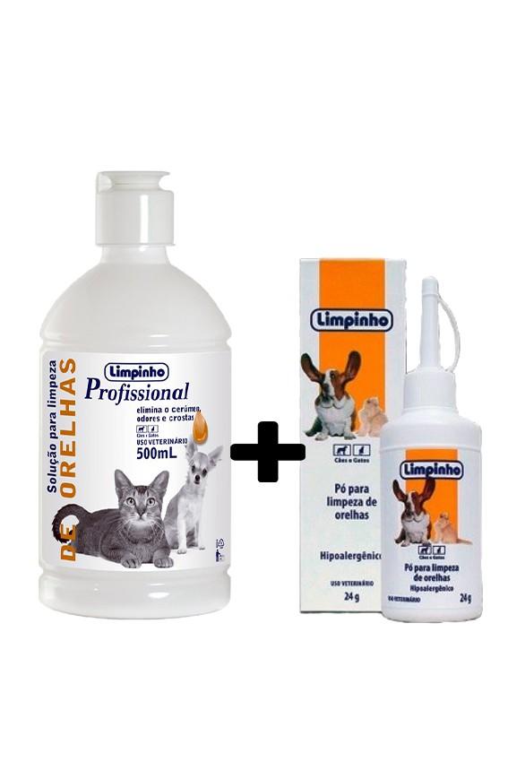 Kit Solução de Limpeza de Ouvido 500ml + pó Otológico 24g Limpinho