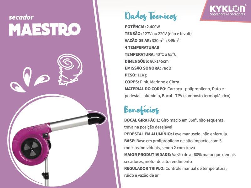 Secador Pedestal Maestro Rosa 220V Kyklon
