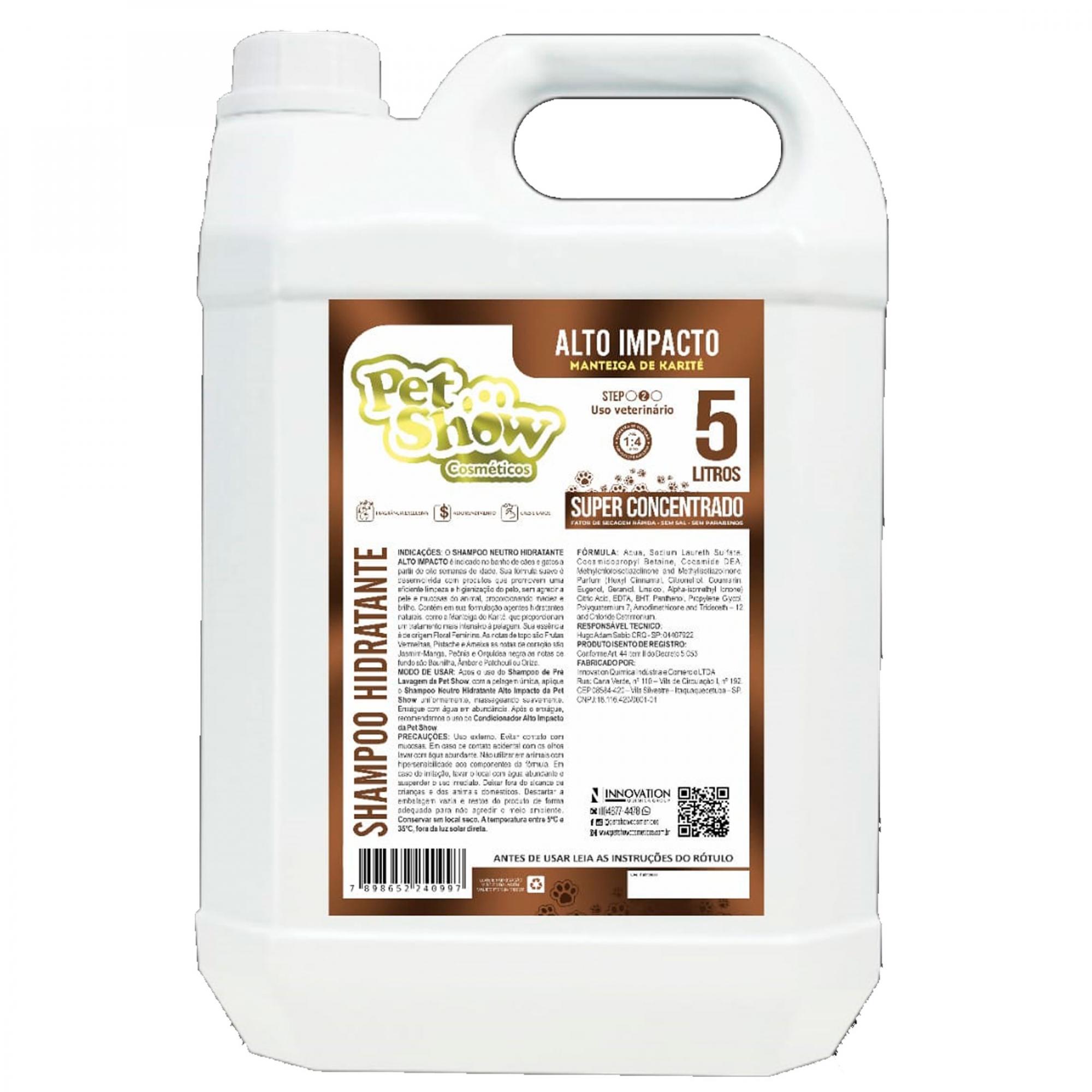 Shampoo Neutro Hidratante Alto Impacto 5L Pet Show