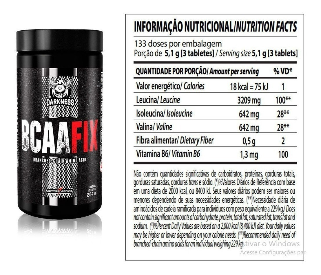 BCAA FIX DARKNESS 120 CAPS INTEGRALMEDICA