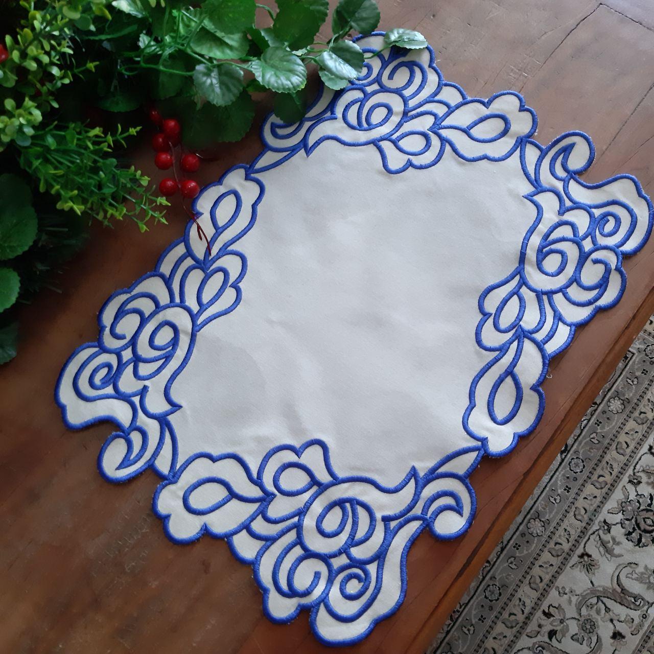 Jogo Americano Bordado Linho - Barroco Azul (1un)