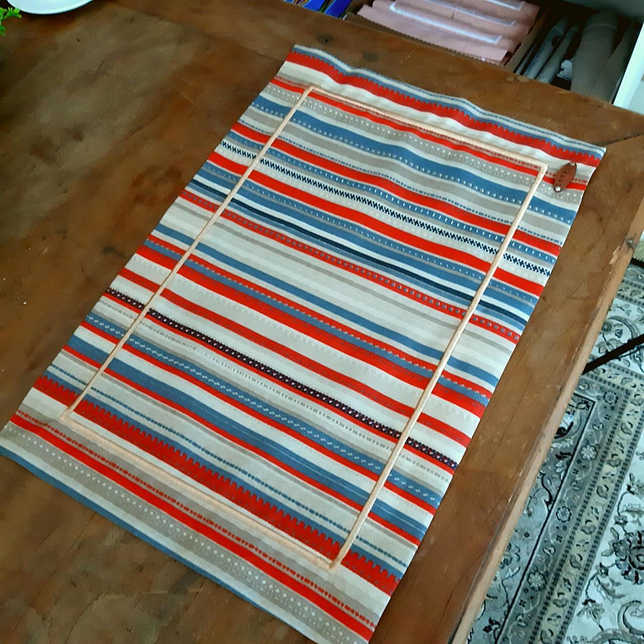 Jogo Americano Bordado Listras - Vermelho e Azul (1un)