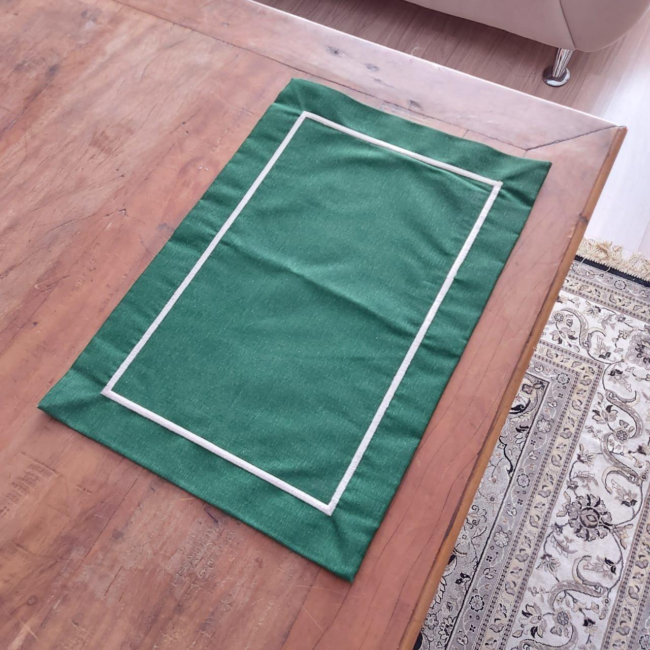 Jogo Americano Canto Mitrado Bordado - Verde (1un)
