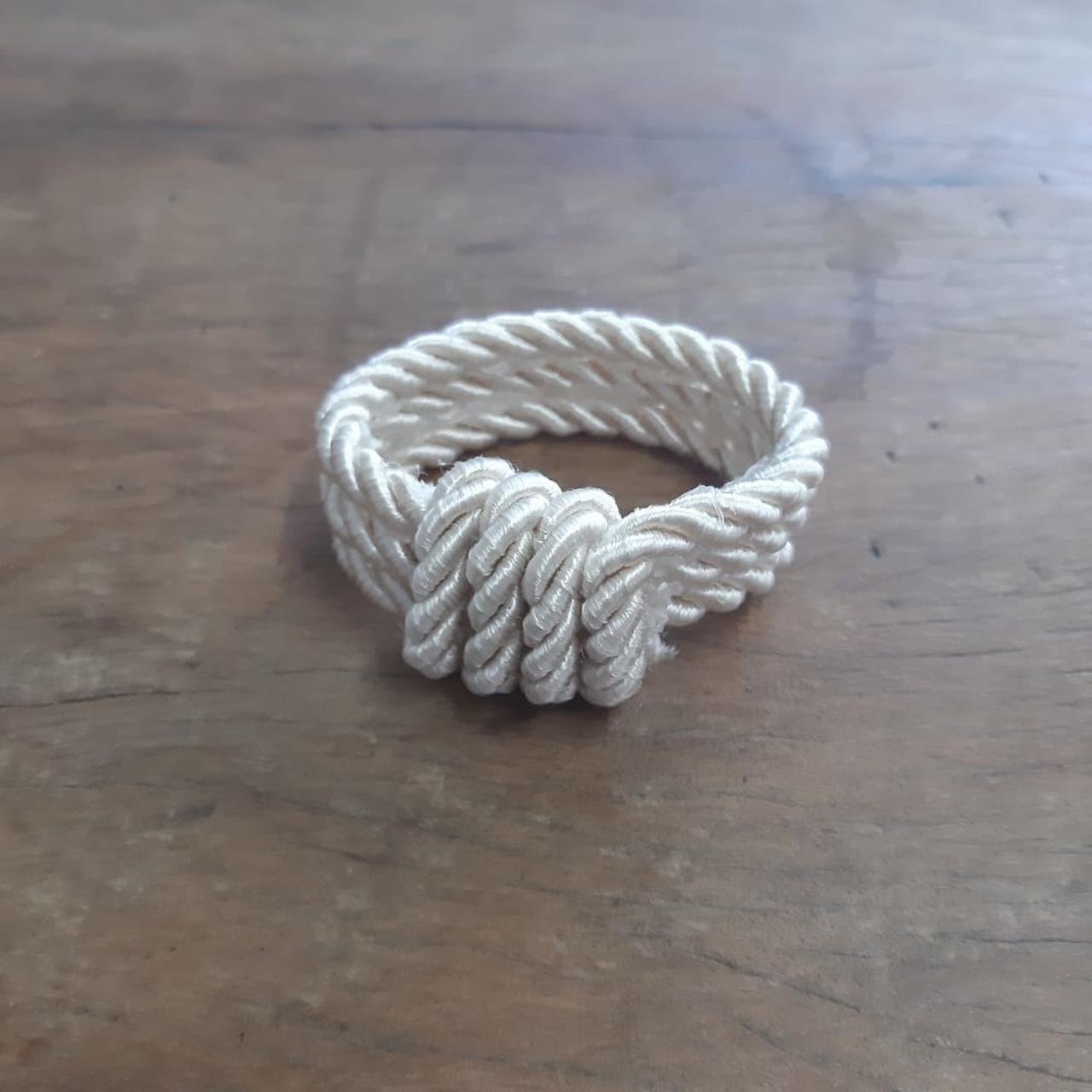 2 Porta Guardanapos - Bracelete de Cordão Creme