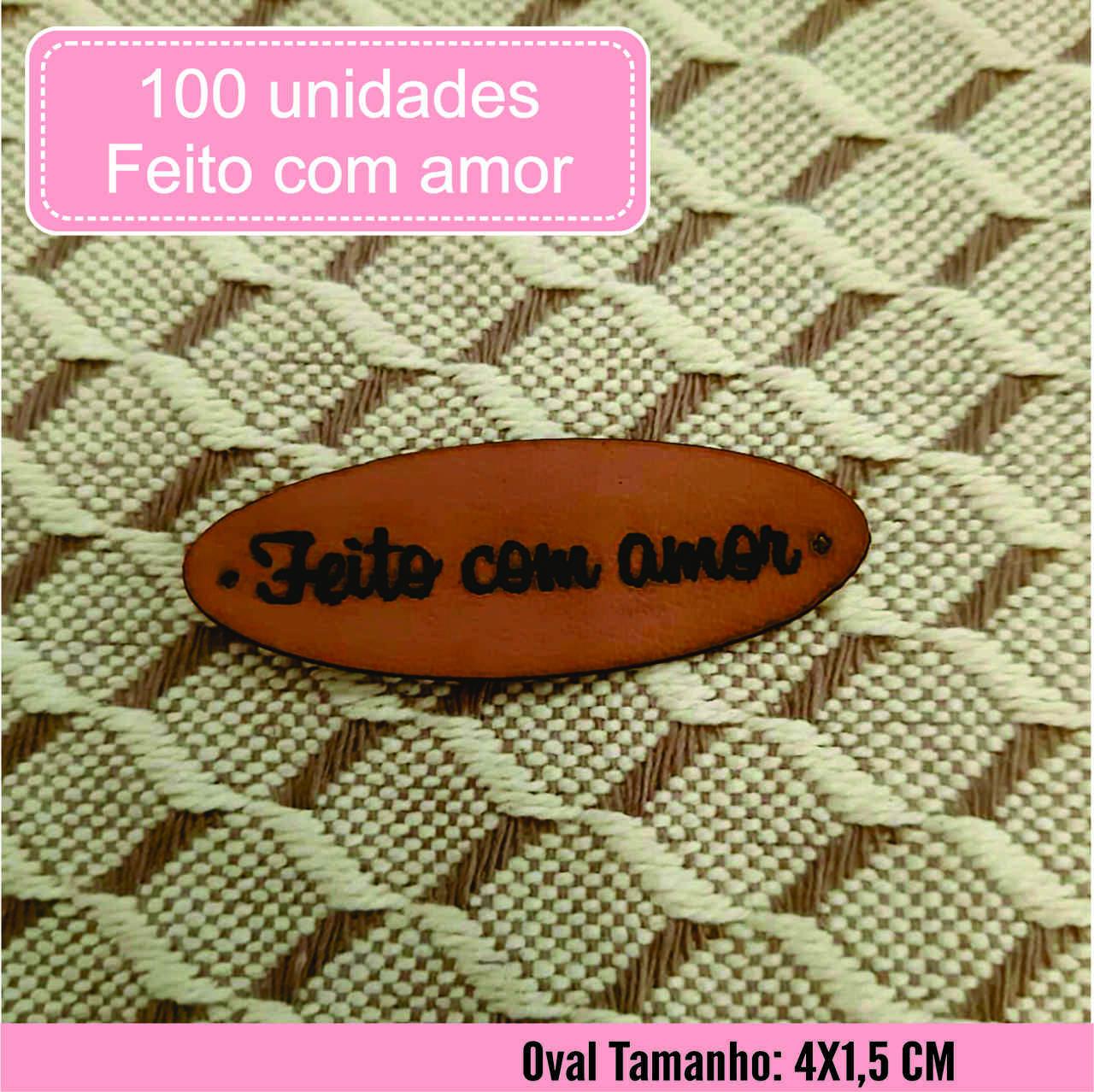 Etiqueta M. Sintético Feito com Amor Pronta Entrega O 100un
