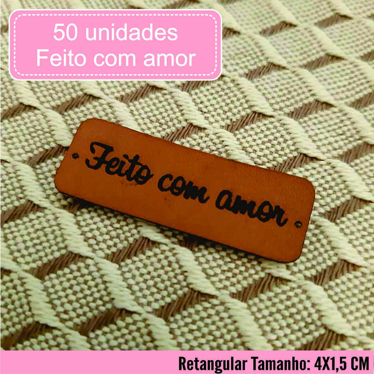 Etiqueta M. Sintético Feito com Amor Pronta Entrega R 50un