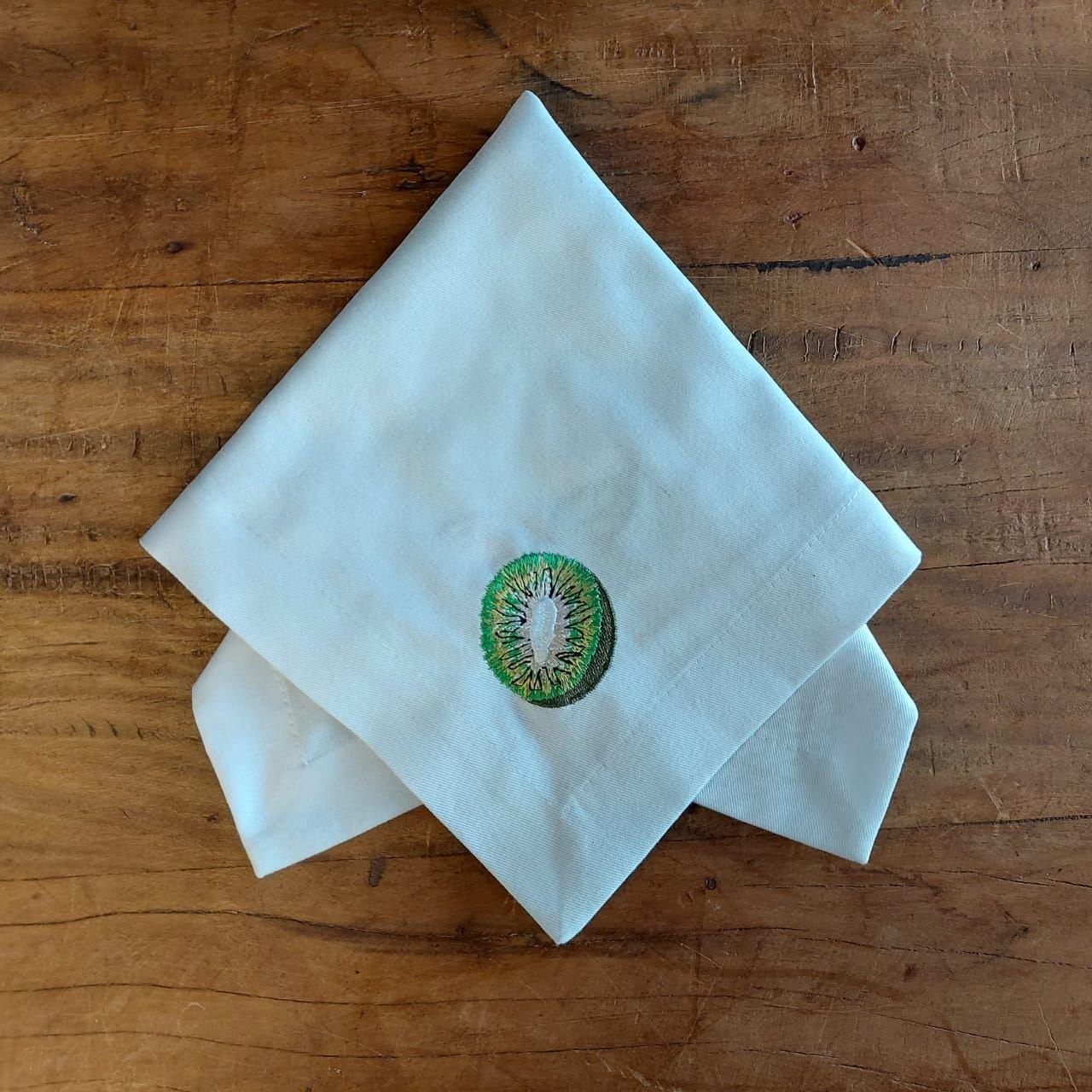 2 Guardanapos Canto Mitrado Bordados - Kiwi