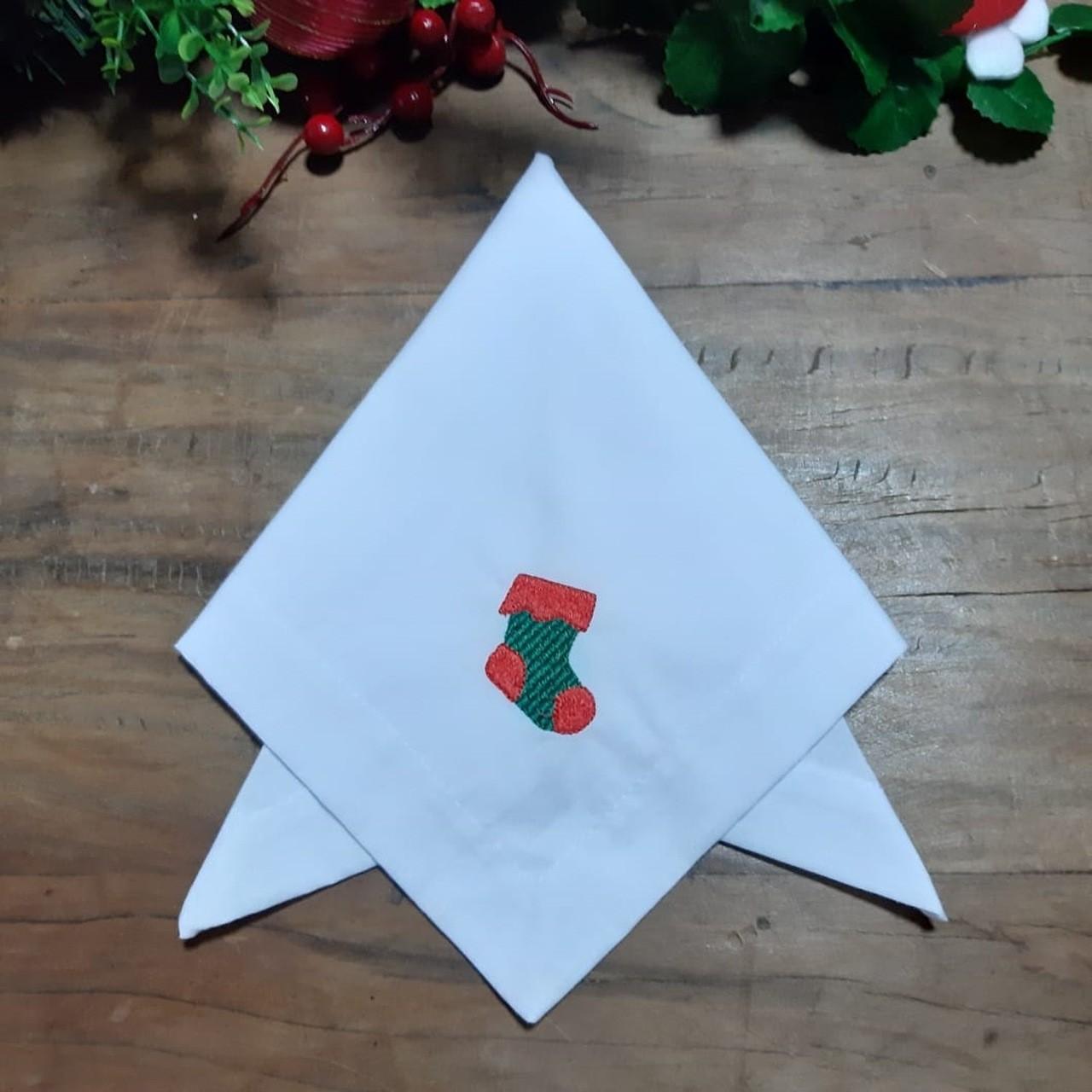 Guardanapo de Canto Mitrado Bordado de Natal - Botinha