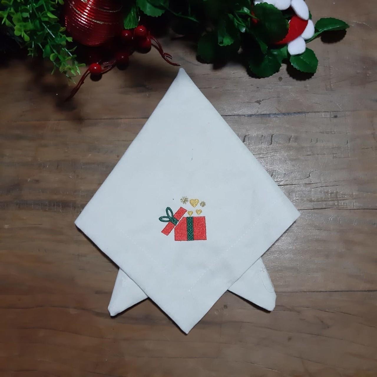 Guardanapo de C. Mitrado Bordado de Natal - Presente